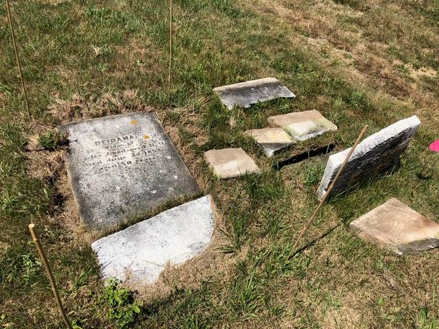 A picture of old headstones